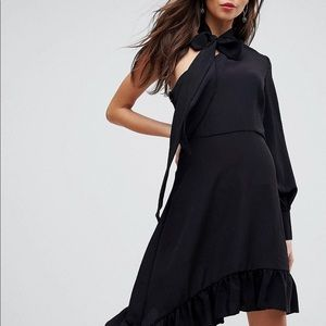 One shoulder asymmetrical dress with tie neck